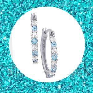 Jewelry - NEW Blue & White Topaz Sterling Silver Earrings